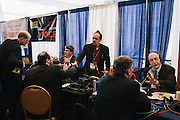 Joe Thomas, right, a radio talk show host and other hosts conduct interviews in an area called radio row during day two of the Conservative Political Action Conference (CPAC) at the Gaylord National Resort & Convention Center in National Harbor, Md.