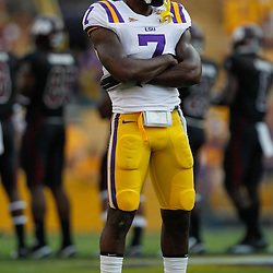 Sep 18, 2010; Baton Rouge, LA, USA; LSU Tigers cornerback Patrick Peterson (7) stands on the field during warms ups prior to a game against the Mississippi State Bulldogs at Tiger Stadium.  Mandatory Credit: Derick E. Hingle