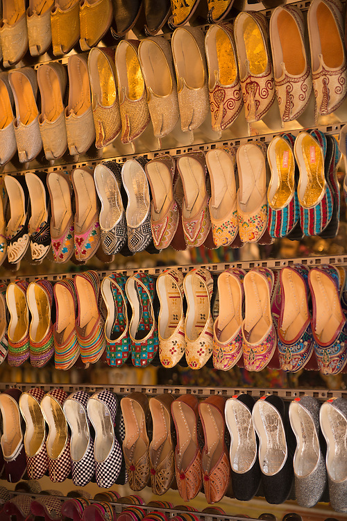Asia, India, Punjab, Amritsar,slippers on market in city