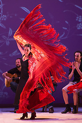 "© Licensed to London News Pictures. 20/02/2015. London, England. Laura Santamaría performing. Ballet Flamenco de Andalucía perform ""Las Cuatro Esquinas"" from their production ""Images: 20 Years"" during the Flamenco Festival London 2015 at Sadler's Wells Theatre. The show runs from 20-21 February with the festival running from 16 February to 1 March 2015.  Photo credit: Bettina Strenske/LNP"