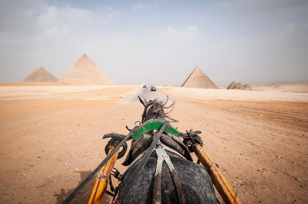 A horse pulls a carriage toward the famous pyramids in Giza, Egypt