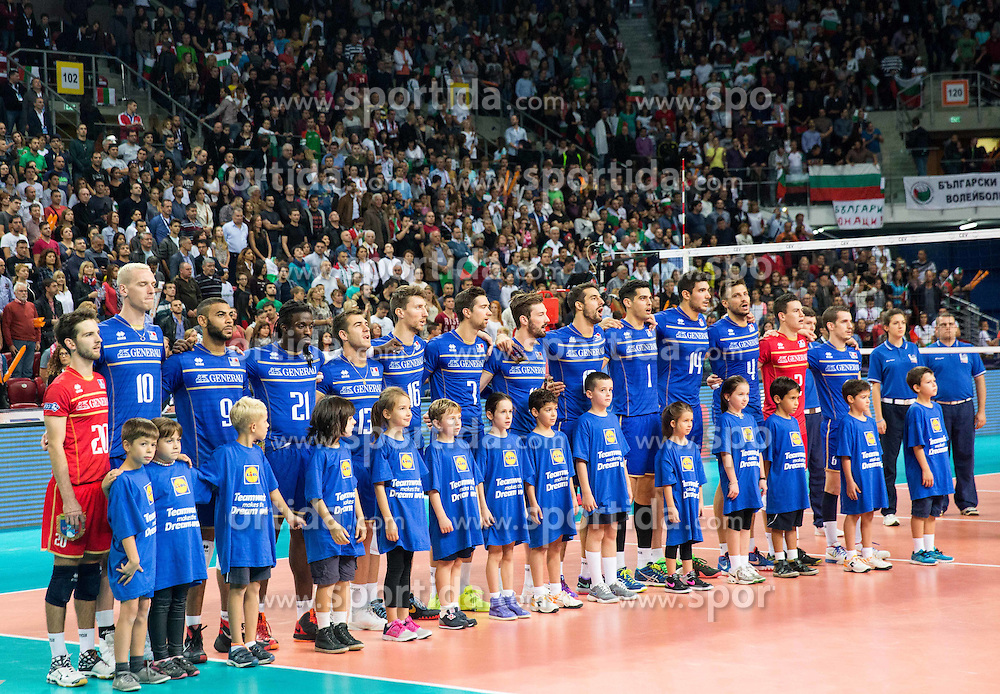 Team France listening to the national anthem during volleyball match between National teams of France and Bulgaria in 2nd Semifinal of 2015 CEV Volleyball European Championship - Men, on October 17, 2015 in Arena Armeec, Sofia, Bulgaria. Photo by Vid Ponikvar / Sportida