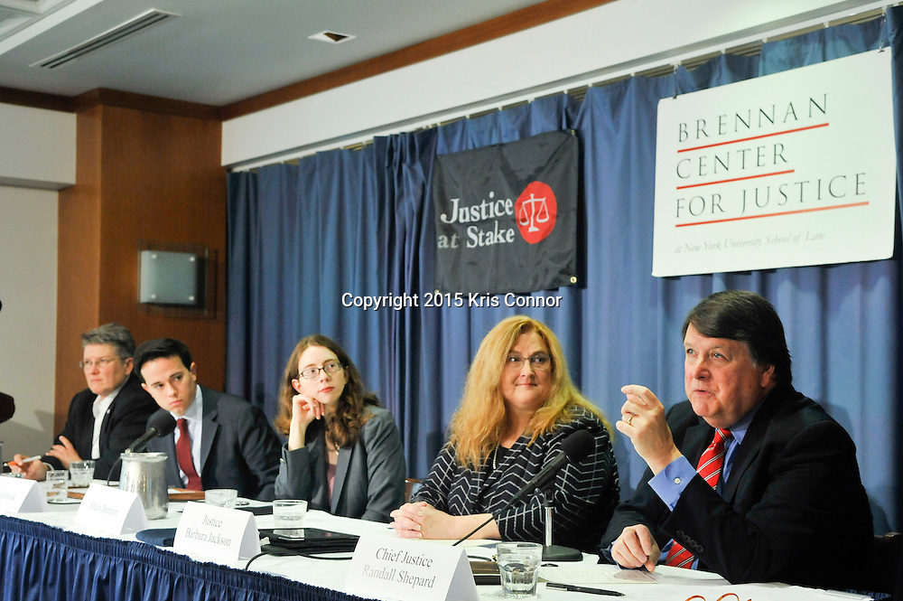 "WASHINGTON, DC- OCTOBER 29:   Chief Justice Randall Shepard (Retired), Indiana Supreme Court, Justice Barbara Jackson, Supreme Court of the State of North Carolina, Alicia Bannon, Senior Counsel, Brennan Center for Justice, Scott Greytak, Policy Counsel and Research Analyst, Justice at Stake, speak during a panel discussion on ""Bankrolling the Bench: The New Politics of Judicial Elections 2013-14"" presented by the Brennan Center for Justice and Justice at Stake at the National Press Club on October 29, 2015 in Washington DC.   (Photo by Kris Connor)"