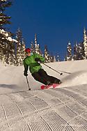 Jen Dolan carves on corduroy groomed runs at Whitefish Mountain Resort in Montana model released