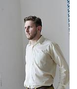 British Artist Steven Warwick aka Heatsick with a bavarian flag at Bethanien Studios, Berlin