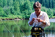 Alaska. Fairbanks. Geoffrey Orth fishing along the Upper Chena River. MR