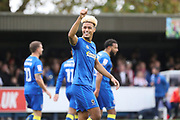AFC Wimbledon striker Lyle Taylor (33) celebrating after scoring goal to make it 1-0 during the The FA Cup match between AFC Wimbledon and Lincoln City at the Cherry Red Records Stadium, Kingston, England on 4 November 2017. Photo by Matthew Redman.