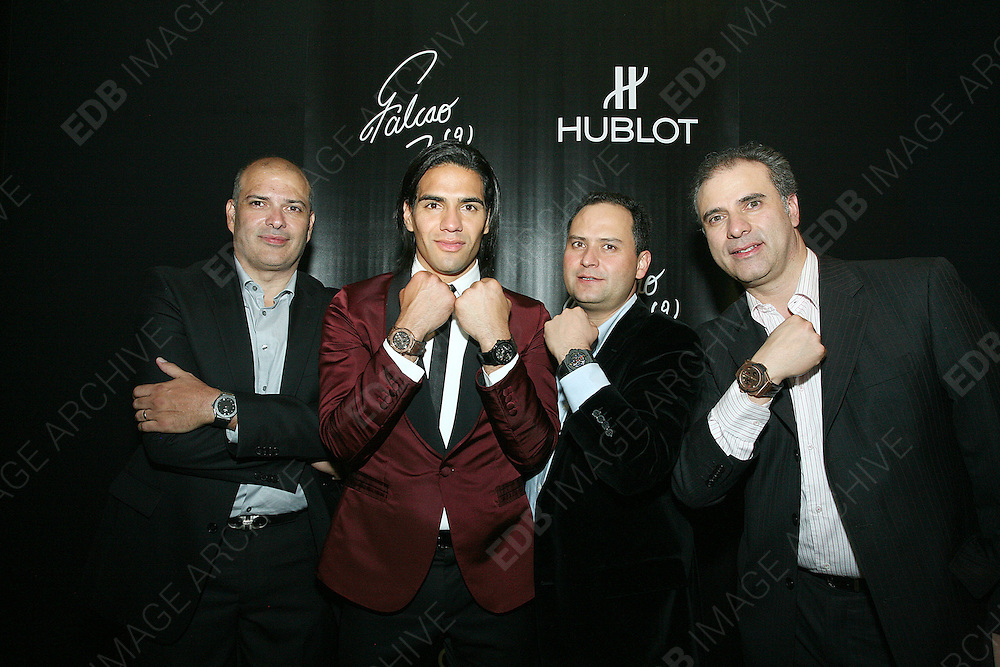 "13.JUNE.2013. BOGOTO<br /> <br /> THE NEW HUBLOT AMBASSADOR FOR COLOMBIA, RADAMEL FALCAO GARCÍA, TOGETHER WITH RICARDO GUADALUPE, CEO OF HUBLOT, HELD AN IMPORTANT EVENT IN BOGOTA PROVIDING FINANCIAL SUPPORT FOR UNODC TO CARRY OUT WORK IN THE CIÉNAGA GRANDE DE SANTA MARTA WETLANDS, THANKS TO THE SALE OF THE ""CLASSIC FUSION FALCAO"" WATCH. FALCAO AND HUBLOT TEAMPS UP FOR AN IMPORTANT PROJECT THEY ARE SUPPORTING TOGETHER IN COLOMBIA WITH THE UNITED NATIONS OFFICE ON DRUGS AND CRIME<br /> <br /> BYLINE: EDBIMAGEARCHIVE.CO.UK<br /> <br /> *THIS IMAGE IS STRICTLY FOR UK NEWSPAPERS AND MAGAZINES ONLY*<br /> *FOR WORLD WIDE SALES AND WEB USE PLEASE CONTACT EDBIMAGEARCHIVE - 0208 954 5968*"