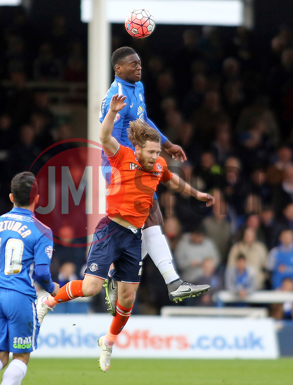 Ricardo Santos of Peterborough United out jumps Craig Mackail-Smith of Luton Town - Mandatory byline: Joe Dent/JMP - 06/12/2015 - Football - ABAX Stadium - Peterborough, England - Peterborough United v Luton Town - FA Cup