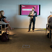 APRIL 25, 2018--MIAMI, FLORIDA<br /> Chris Barr, Director of Arts for the Knight Foundation, with opening remarks at the beginning of a presentation by some of the recipients of $1.87 million from the foundation to support the exploration of new ways technology can connect people to art. The event was held at the Perez Art Museum Miami.<br /> (PHOTO BY ANGELVALENTIN/FREELANCE)