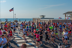 Spring Lake, NJ, USA -- May 28, 2018. Athletes running the Spring Lake 5 Mile Race on Ocean Avenue. Editorial Use Only.