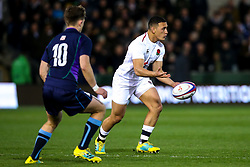Manu Vunipola of England U20 takes on Ross Thompson of Scotland U20 - Mandatory by-line: Robbie Stephenson/JMP - 15/03/2019 - RUGBY - Franklin's Gardens - Northampton, England - England U20 v Scotland U20 - Six Nations U20