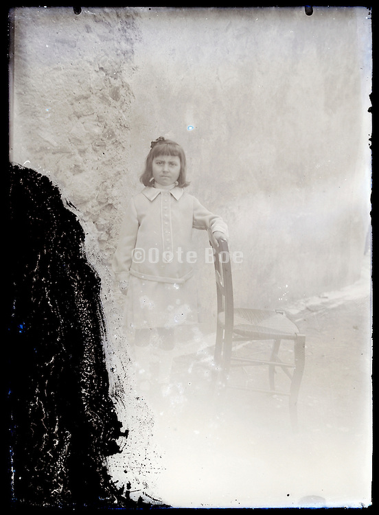 eroding glass plate photo with young girl