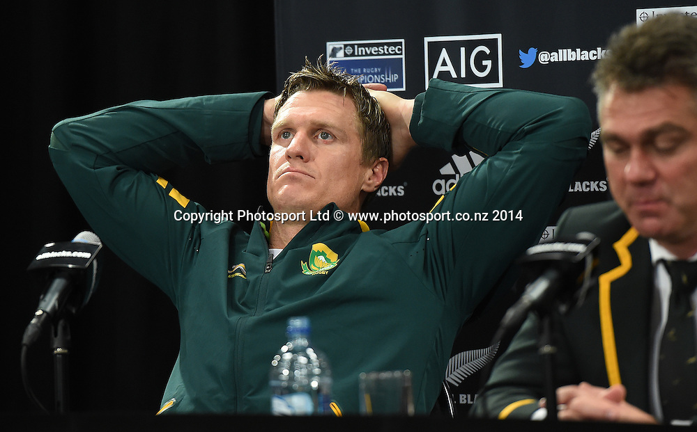 A disappointed South African captain Jean De Villiers at the post match press conference. New Zealand All Blacks versus South Africa Springboks. The Rugby Championship. Rugby Union Test Match. Wellington. New Zealand. Saturday 13 September 2014. Photo: Andrew Cornaga/www.Photosport.co.nz