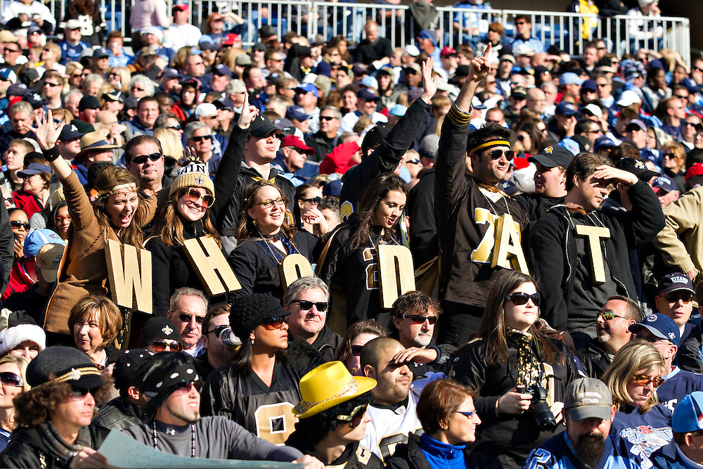 "NASHVILLE, TN - DECEMBER 11:   Fans of the New Orleans Saints spell ""WhoDat"" during a game against the Tennessee Titans at LP Field on December 11, 2011 in Nashville, Tennessee.  The Saints defeated the Titans 22-17.  (Photo by Wesley Hitt/Getty Images) *** Local Caption ***"