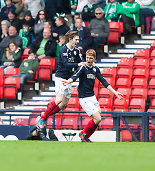 Falkirk's Jay Fulton cele scoring their second goal..Half time : Hibernian 0 v 3 Falkirk, William Hill Scottish Cup Semi Final, Hampden Park..©Michael Schofield..