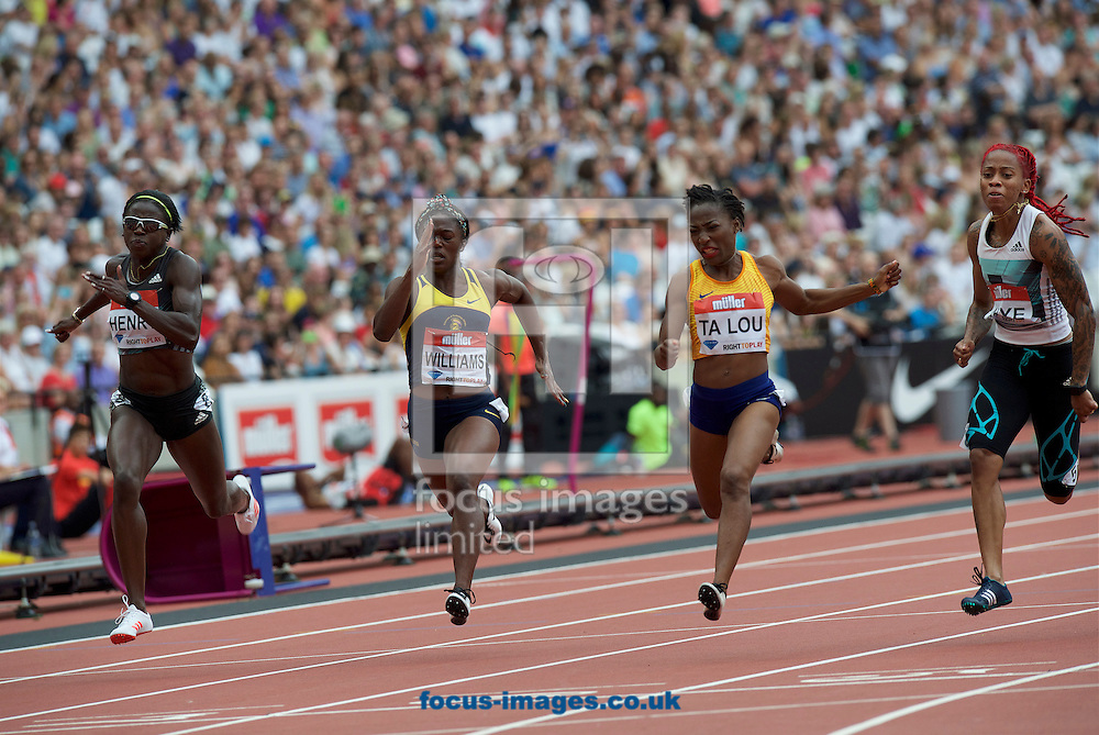 (left to right) Desiree Henry (Great Britain),Christania Williams (Jamaica) winner  Marie-Josee Ta Lou (Ivory Coast) and Michelle-Lee Ahye (Trinidad &amp; Tobago) competing in the 100m during the M&uuml;ller Anniversary Games in the Stadium at Queen Elizabeth Olympic Park, London, UK<br /> Picture by Alan Stanford/Focus Images Ltd +44 7915 056117<br /> 23/07/2016
