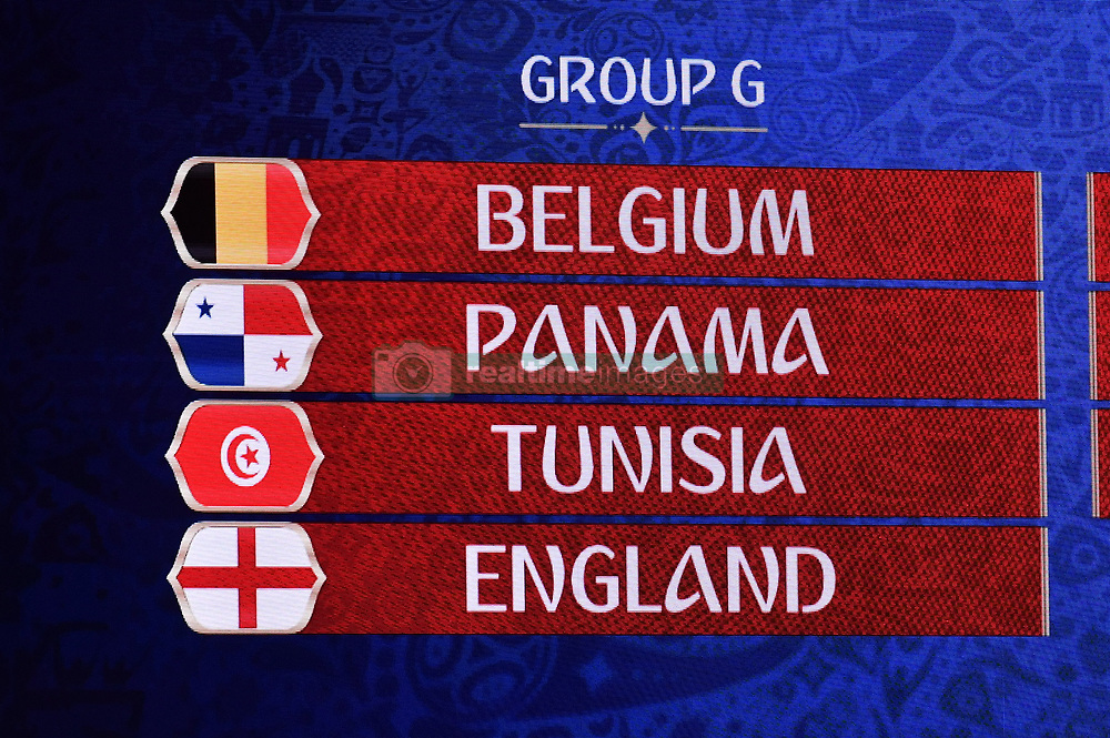 December 1, 2017 - Moscow, RUSSIA - Illustration picture shows Belgium, Panama, Tunisia and England in Group G during the draw for the 2018 World Cup soccer in Moscow, with Belgium team in pot one, Russia, Friday 01 December 2017...BELGA PHOTO DIRK WAEM (Credit Image: © Dirk Waem/Belga via ZUMA Press)