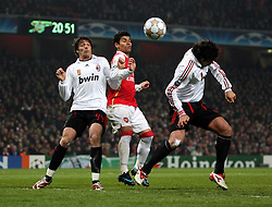 LONDON, ENGLAND - Wednesday, February 20, 2008 : Arsenal's Eduardo in action against AC Milan's Masimmon Oddo (left) and Kakha Kaladze during the UEFA Champions 1st Knockout Round, 1st Leg match at The Emirates Stadium. (Photo by Chris Ratcliffe/Propaganda)