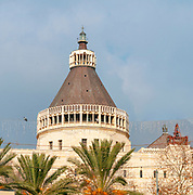 Israel, Nazareth, Exterior of the Basilica of the Annunciation on a blue sky background