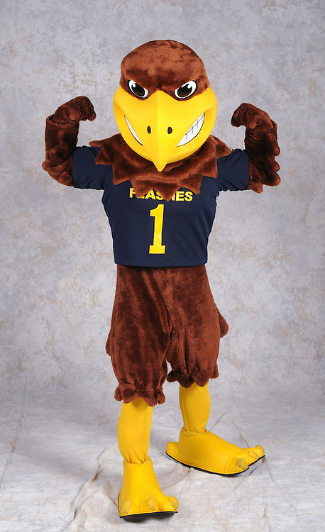 Flash, the mascot of Kent State athletics, flexes his muscles during a studio shoot.