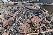 Nederland, Groningen, Delfzijl, 01-05-2013; centrum Delfzijl met boven in beeld de zeedijk langs de haven. Kerk en stellingmolen.<br /> Town centre, harbor.<br /> luchtfoto (toeslag op standard tarieven);<br /> aerial photo (additional fee required);<br /> copyright foto/photo Siebe Swart