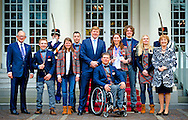 THE HAGUE - Dutch king Willem alexander with all the dutch Paralympic sporters with Bibian mentel goldel medal winnar snowboard. with Prince Pieter van Vollenhoven and Princes MArgriet. COPYRIGHT ROBIN UTRECHT