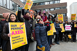 © Licensed to London News Pictures. 23/02/2018. London, UK. Members of the University and College Union (UCU) take part in a strike protest over pensions outside City University in London. City University is one of two universities that have warned lecturers they will be partly responsible for student failures and could face legal action if they strike. Photo credit: Vickie Flores/LNP
