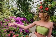 Katherine Warwick-Adkins in a floral outfit designed by Okishimna and Simmonds on the Hillier Nurseries stand - RHS Chelsea Flower Show, Chelsea Hospital, London UK, 18 May 2015.