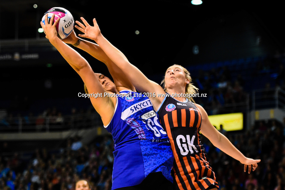 Cathrine Tuivaiti of the Mystics and Zoe Walker of the Tactix go for the ball during the ANZ Championship netball game Canterbury Tactixs V Northern Mystics at  Horncastle Arena, Christchurch, New Zealand. 25th April 2016. Copyright Photo: John Davidson / www.photosport.nz