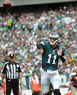 Philadelphia Eagles quarterback Carson Wentz throws a pass against the Cleveland Browns, September 11, 2016 at Lincoln Financial Field in Philadelphia, Pennsylvania.  (Photo by William Thomas Cain)