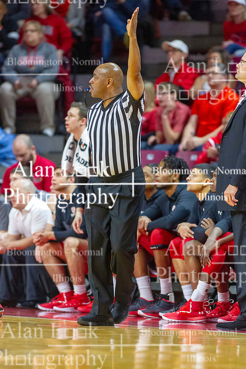 NORMAL, IL - February 16:  Antinio Petty puts one hand up as a player takes a 3 point attempt during a college basketball game between the ISU Redbirds and the Bradley Braves on February 16 2019 at Redbird Arena in Normal, IL. (Photo by Alan Look)