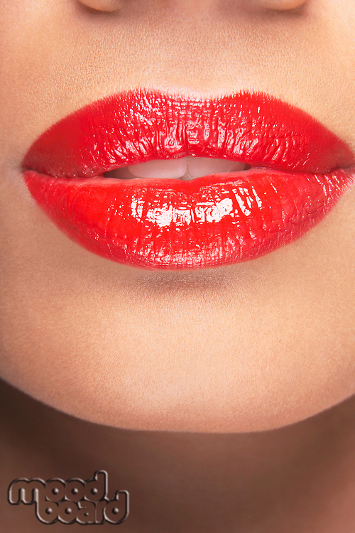 Lips with red lipstick