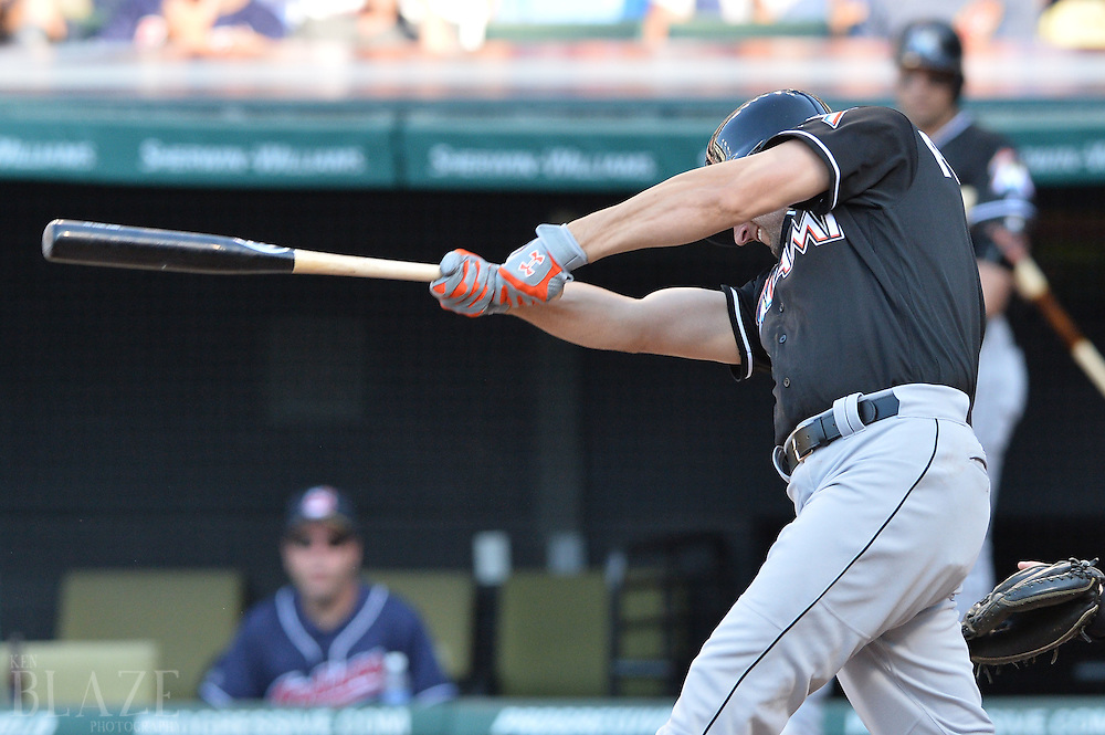 Sep 4, 2016; Cleveland, OH, USA; Miami Marlins left fielder Jeff Francoeur (5) hits a single during the fifth inning against the Cleveland Indians at Progressive Field. Mandatory Credit: Ken Blaze-USA TODAY Sports