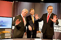 The TG4 debate in Baile na hAbhainn Co. Galway attending were  Party leaders Eamon Gilmore, Enda Kenny FG and   Micheal Martin FF  enough is enough with the photographs. Photo:Andrew Downes. .
