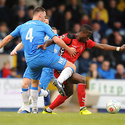 TELFORD COPYRIGHT MIKE SHERIDAN 16/2/2019 - Dan Udoh of AFC Telford bursts past Jordan Keane of Stockport during the Vanarama Conference North fixture between Stockport County and AFC Telford United at Edgeley Park