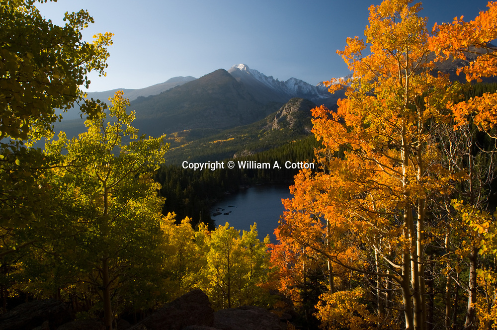 Longs Peak and Bear Lake with fall aspen, Rocky Mountain National Park, Colorado<br /> Longs Peak and Bear Lake with fall aspen, Rocky Mountain National Park, Colorado