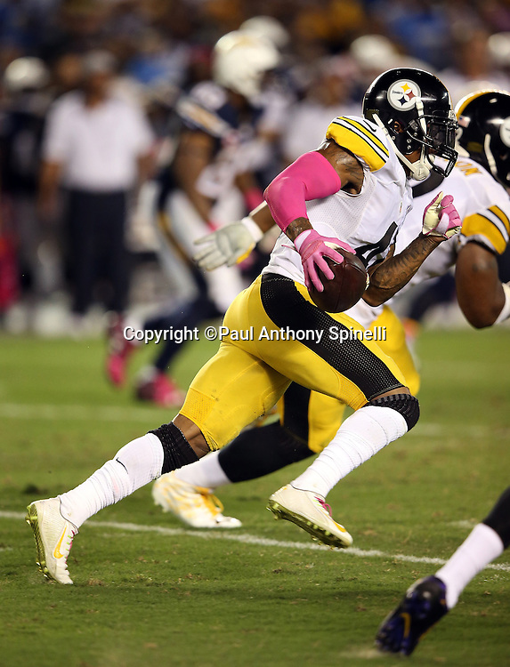 Pittsburgh Steelers cornerback Antwon Blake (41) returns an interception 70 yards for a touchdown and a 10-7 Steelers third quarter lead during the 2015 NFL week 5 regular season football game against the San Diego Chargers on Monday, Oct. 12, 2015 in San Diego. The Steelers won the game 24-20. (©Paul Anthony Spinelli)