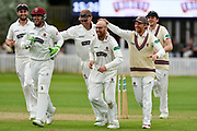 Somerset celebrate the Win - Lewis Gregory, Steve Davies, Marcus Trescothick, Jack Leach, James Hildreth and Josh Davey of Somerset celebrate the run out of Steve Magoffin of Worcestershire to win the match during the Specsavers County Champ Div 1 match between Somerset County Cricket Club and Worcestershire County Cricket Club at the Cooper Associates County Ground, Taunton, United Kingdom on 22 April 2018. Picture by Graham Hunt.