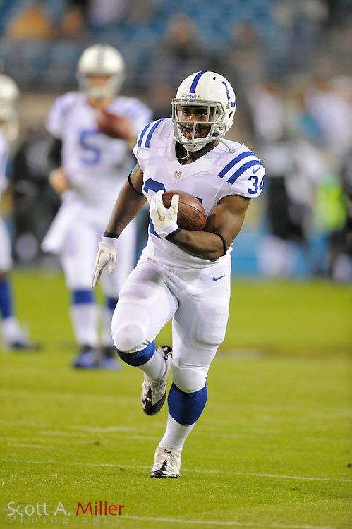 Indianapolis Colts running back Delone Carter (34) during NFL football game between the Jacksonville Jaguars and the Indianapolis Colts at EverBank Field on November 8, 2012 in Jacksonville, Florida.  The Colts won 27-10. .©2012 Scott A. Miller..