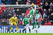 Darren McGregor (#24) of Hibernian heads clear from a corner during the William Hill Scottish Cup 4th round match between Heart of Midlothian and Hibernian at Tynecastle Stadium, Gorgie, Scotland on 21 January 2018. Photo by Craig Doyle.