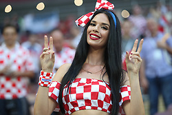 July 11, 2018 - Moscow, U.S. - MOSCOW, RUSSIA - JULY 11: Fan of Croatia during the semifinal match between Croatia and England at the FIFA World Cup on July 11, 2018 at the Luzhniki Stadium  in Moscow, Russia. (Photo by Anatoliy Medved/Icon Sportswire) (Credit Image: © Anatoliy Medved/Icon SMI via ZUMA Press)