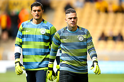 Ederson of Manchester City and Arijanet Muric of Manchester City - Mandatory by-line: Robbie Stephenson/JMP - 25/08/2018 - FOOTBALL - Molineux - Wolverhampton, England - Wolverhampton Wanderers v Manchester City - Premier League