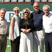 Vic Braden is honored during a ceremony on Stadium 1 at the 2015 BNP Paribas Open in Indian Wells, California on Thursday, March 19, 2015. From left: Ralph Braden,Kris Paul and Melody Braden with Steve Simon and Raymond Moore.<br />