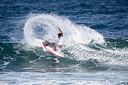 Victor Bernardo of Brazil advances to round three by placing first in heat 6 round two of the 2017 WSL Hawaiian Pro, Haleiwa, Hawaii