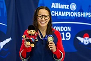 Alice Tai of Great Britain with her Gold Medal won in the Women's 100 m Butterfly S8 during the World Para Swimming Championships 2019 Day 3 held at London Aquatics Centre, London, United Kingdom on 11 September 2019.