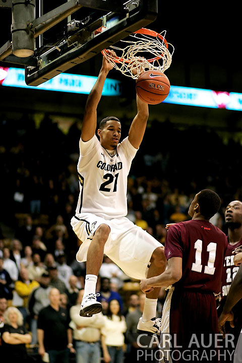 November 27, 2012: Colorado Buffaloes junior forward André Roberson (21) throws a two handed dunk down early in the first half of the NCAA Basketball game between the Texas Southern Tigers and the Colorado Buffaloes at the Coors Event Center in Boulder Colorado