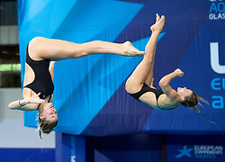 Great Britain's Grace Reid (right) and Katherine Torrance competing in the Women's Synchronised 3m Springboard Final during day eleven of the 2018 European Championships at the Royal Commonwealth Pool, Edinburgh.