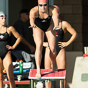 02 December 2016: The San Diego State Aztecs Swimming team hosted Pepperdine Friday afternoon at the SDSU Aquaplex. 400 yard Medley Relay.  www.sdsuaztecphotos.com