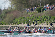 London, Great Britain, Cambridge in the closing stage of the race. The Newton Women's Boat Race, Men's Race , Championship Course.  River Thames. Putney to Mortlake. ENGLAND. <br /> <br /> 17:08:31  Saturday  11/04/2015<br /> <br /> [Mandatory Credit; Peter Spurrier/Intersport-images]<br /> <br /> CUWBC, Fanny BELAIS, Ashton BROWN, Caroline REID, Clare WATKINS, Melissa WILSON, Holly HILL, Daphne MARTSCHENKO,Hannah EVANS, Cox Rosemary OSTFELD